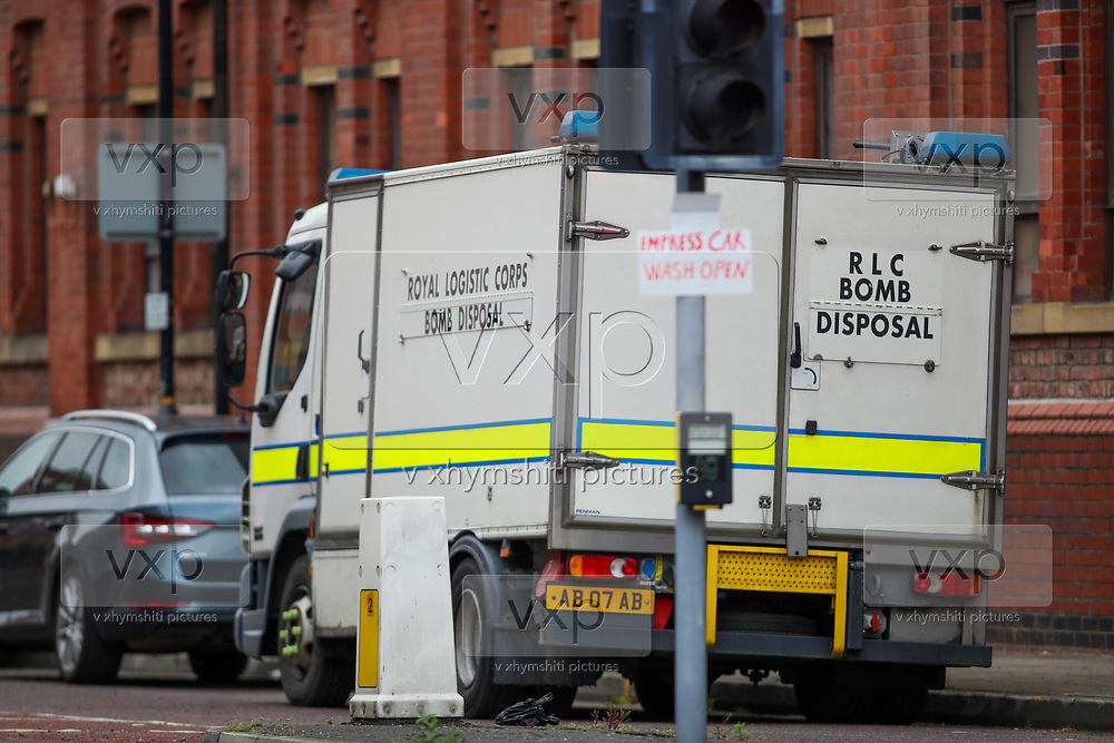 Greater Manchester Police Bomb Disposal Unit are at the scene in Old Trafford, Manchester on Thursday, April 29, 2021, following an allegation over an explosive device. (Photo/ Vudi Xhymshiti)