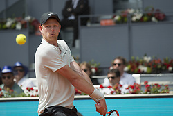 May 9, 2018 - Madrid, Madrid, Spain - KYLE EDMUND in a match against NOVAK DJOKOVIC during the 2nd round of Mutua Madrid Open 2018 - ATP in Madrid. KYLE EDMUND won the match 6-3 2-6 6-3. (Credit Image: © Patricia Rodrigues/via ZUMA Wire via ZUMA Wire)