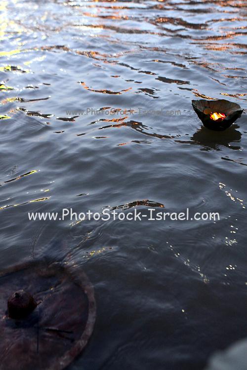 India, Uttarakhand, Haridwar. The Kumbh Mela Pilgrimage. Pilgrims bathing in the Ganges River