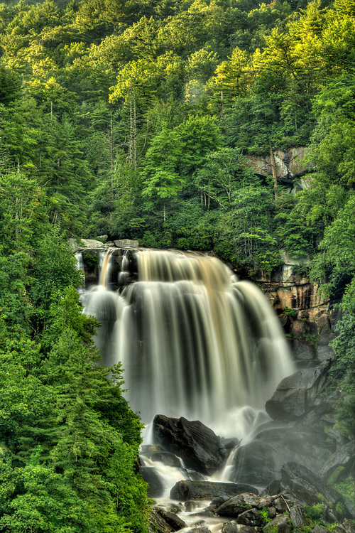 The upper portion of Upper Whitewater Falls, viewed from a scenic overlook along Highway 281 in Cashiers, NC on Wednesday, August 17, 2016. Copyright 2016 Jason Barnette