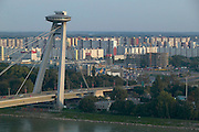 Europe, Slovakia, capitol city - Bratislava.  Novy most, Main Bridge over the Danube to the Petrzalka suburb.
