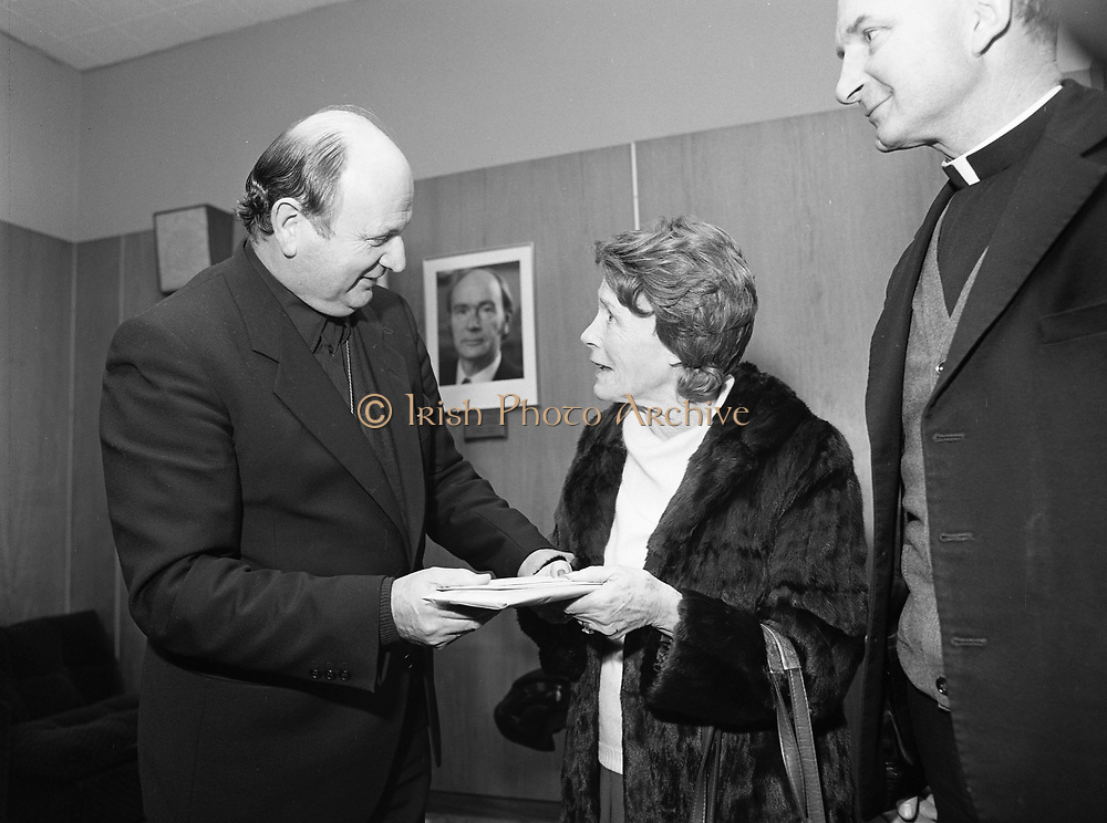 13 February 1984<br /> <br /> Cork Examiner Special: Bishop Eamonn Casey pictured at Dublin Airport before departing for the Philippines to attend the trial of Father Niall O'Brien