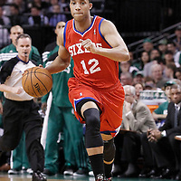 26 May 2012: Philadelphia Sixers shooting guard Evan Turner (12) brings the ball upcourt during the Boston Celtics 85-75 victory over the Philadelphia Sixer, in Game 7 of the Eastern Conference semifinals playoff series, at the TD Banknorth Garden, Boston, Massachusetts, USA.