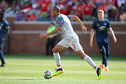 July 28, 2018 - Ann Arbor, Michigan, United States - Fabinho of Liverpool carries the ball down the field during an International Champions Cup match between Manchester United and Liverpool at Michigan Stadium in Ann Arbor, Michigan USA, on Wednesday, July 28,  2018. (Credit Image: © Amy Lemus/NurPhoto via ZUMA Press)