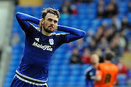 Cardiff City's Scott Malone reacts after his shot goes wide of goal. Skybet football league championship match, Cardiff city v Ipswich Town at the Cardiff city stadium in Cardiff, South Wales on Saturday 12th March 2016.<br /> pic by Carl Robertson, Andrew Orchard sports photography.