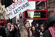 Student Demonstration closes Oxford Street bringing public transport to a standstill in London. Young people protest against many different government policies at this demonstration which included a sit down protest blocking Oxford Circus.