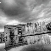 Cloud cover combined with a generous dose of tone mapping on the computer and a black and white layer   to help depict Union Station, Kansas City Missouri, September 2010.