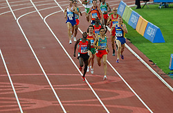 Gert-Jan Liefers NED, Hicham El Guerrouj MAR, Bernard Lagat KEN in action during Olympics Games Athletics day 12 on August 24, 2004 in Olympic Stadion Spyridon Louis, Athens.