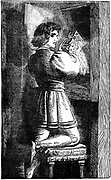 Waldenses (Valdenses, Vaudois, Valdesi) Christian sect originating 12th century France. Its devotees followed Christ in simplicity and poverty. Persecuted by Rome.  A Waldensian youth hiding his vernacular Bible c1200. 19th century wood engraving.