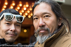 """Yujin Asano and """"Sushi"""" Atsushi Yasui after a ride around Tokyo with friends of the Freewheelers And Company shop. Tokyo, Japan. December 8, 2015.  Photography ©2015 Michael Lichter."""