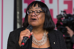 London, UK. 19 October, 2019. Diane Abbott, Shadow Home Secretary, addresses hundreds of thousands of pro-EU citizens at a Together for the Final Say People's Vote rally in Parliament Square as MPs meet in a 'super Saturday' Commons session, the first such sitting since the Falklands conflict, to vote, subject to the Sir Oliver Letwin amendment, on the Brexit deal negotiated by Prime Minister Boris Johnson with the European Union.