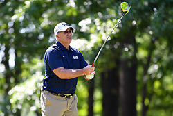 Pat Narduzzi tees off during the Chick-fil-A Peach Bowl Challenge at the Oconee Golf Course at Reynolds Plantation, Sunday, May 1, 2018, in Greensboro, Georgia. (Dale Zanine via Abell Images for Chick-fil-A Peach Bowl Challenge)