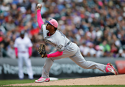 May 13, 2018 - Denver, CO, U.S. - DENVER, CO - MAY 13: Milwaukee Brewers relief pitcher Freddy Peralta (51) pitches during a regular season MLB game between the Colorado Rockies and the visiting Milwaukee Brewers on May 13, 2018 at Coors Field in Denver, CO. (Photo by Russell Lansford/Icon Sportswire) (Credit Image: © Russell Lansford/Icon SMI via ZUMA Press)