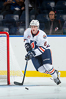 KELOWNA, CANADA - SEPTEMBER 5: Sean Strange #6 of the Kamloops Blazers skates with the puck against the Kelowna Rockets on September 5, 2017 at Prospera Place in Kelowna, British Columbia, Canada.  (Photo by Marissa Baecker/Shoot the Breeze)  *** Local Caption ***