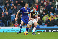 Nemanja Matic of Chelsea and Joey Barton of Burnley in action. Premier league match, Burnley v Chelsea at Turf Moor in Burnley, Lancs on Sunday 12th February 2017.<br /> pic by Chris Stading, Andrew Orchard Sports Photography.