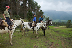South America, Ecuador, Zuleta, horseback riding excursion from hacienda.  MR