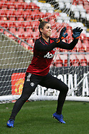 Portrait full length Manchester City defender Alex Greenwood (27) warming up during the FA Women's Super League match between Manchester United Women and Manchester City Women at Leigh Sports Village, Leigh, United Kingdom on 14 November 2020.