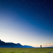 The stars come out after sunset in Grand Teton National Park, Wyoming.