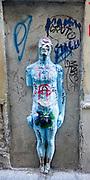 Street sculpture of Adam in blue