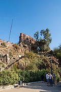 Wide-angle view of Cerro Santa Lucia, Santiago, Chile.