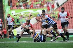 Johannesburg. 15-09-18 Emirates Airline Park. Rugby Currie Cup.  Lions vs Western Province(WP).  Lions player is tackled by WP players Paul de Wet and Chris van Zyl (capt)  during the second half. <br /> Picture: Karen Sandison/African News Agency(ANA)