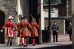 Beefeaters arrive at Windsor Castle to take part in the funeral service of the Duke of Edinburgh on 17th April 2021 in Windsor, United Kingdom. The funeral of Prince Philip, Queen Elizabeth II's husband, is taking place at St George's Chapel in Windsor Castle, with the ceremony restricted to 30 mourners in accordance with current coronavirus restrictions.