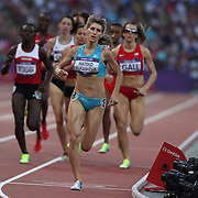 Margarita Matsko Mukasheva, Kazakhstan, in action in the Women's 800m Semi Finals at the Olympic Stadium, Olympic Park, during the London 2012 Olympic games. London, UK. 9th August 2012. Photo Tim Clayton