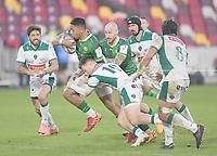Rugby Union - 2020 / 2021 European Rugby Challenge Cup - London Irish vs Pau - Brentford Community Stadium<br /> <br /> London Irish's Phil Cokanasiga is tackled by Pau's Thibault Debaes.<br /> <br /> COLORSPORT/ASHLEY WESTERN