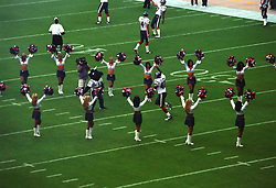 Stock photo of Texans cheerleaders performing during the team's game entrance
