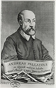 'Andrea Palladio (1508-1580) born Andrea di Pietro della Gondola, Venetian architect , who was influenced by Ancient Greek and Roman architecture.  In his turn, he greatly influenced Western architecture. Engraving.'