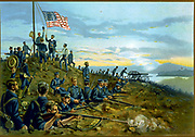 Spanish-Cuban-American War 1898: US Marines raising the stars-and-stripes on Cuban soil for the first time, 11 June 1898.  Flag Trench Rifle Field Gun Artillery Landing Party