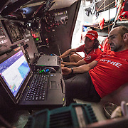Leg 6 to Auckland, day 12 on board MAPFRE, Xabi Fernandez and Blair Tuke comenting the routing. 18 February, 2018.