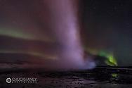 Aurora borealis over Geysir in southwest Iceland