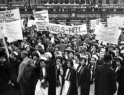 File photo dated 28/04/62 of National Health Service (NHS) nurses during a protest over pay rates in Trafalgar Square, London.