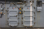 """Locked doors on the top deck on-board the Royal Navy's aircraft carrier HMS Illustrious. Illustrious is the second of three Invincible-class light aircraft carriers built for the Royal Navy in the late 1970s and early 1980s. She is the fifth warship and second aircraft carrier to bear the name Illustrious, and is affectionately known to her crew as """"Lusty"""". She is the oldest ship in the Royal Navy's active fleet , expected  to be  withdrawn from service in 2014 (after 32 years' service)."""