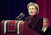First lady Hillary Rodham Clinton holds an event to mark the festival of Eid al-Fitr, the official end of the month long fast of Ramadan January 21, 1999 in Washington, DC.