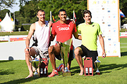 Pierce LePage (CAN), center, poses with runner-up Zach Ziemek (USA), left, and third-place finisher Thomas Van Der Plaetsen (BEL) after winning the decathlon with 8,453 points during the decathlon at the DecaStar meeting, Saturday, June 23, 2019, in Talence, France. (Jiro Mochizuki/Image of Sport)