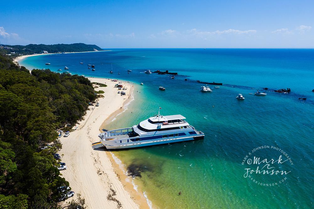 Aerial photograph of the Micat Ferry, The Wrecks, shipwrecks off of Tangalooma, Moreton Island, Moreton Bay, Brisbane, Queensland, Australia
