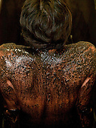 Woman at the Cartellieri house for a bath with sulphite/ferrous mud. The rich local deposits of sulphur-ferric peat are used for packs and baths at the spa resort of Frantiskovy Lazne in Czech Republic.