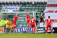 York clear their lines during a Plymouth attach during the Sky Bet League 2 match between Plymouth Argyle and York City at Home Park, Plymouth, England on 28 March 2016. Photo by Graham Hunt.