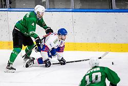 Zibelnik Andraz of HK Olimpija vs Pace Fabrizio of Fassa  during Ice hockey match between HK SZ Olimpija and SHC Fassa Falcons in Round #20 of Alps Hockey League 2020/21, on February 16, 2021 in Hala Tivoli, Ljubljana, Slovenia. Photo by Vid Ponikvar / Sportida