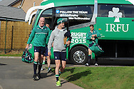 Paul O'Connell (l) of Ireland arrives for the Ireland rugby team training at Newport High School in Newport , South Wales on Friday 9th October 2015.the team are preparing for their next RWC match against France this Sunday.<br /> pic by  Andrew Orchard, Andrew Orchard sports photography.