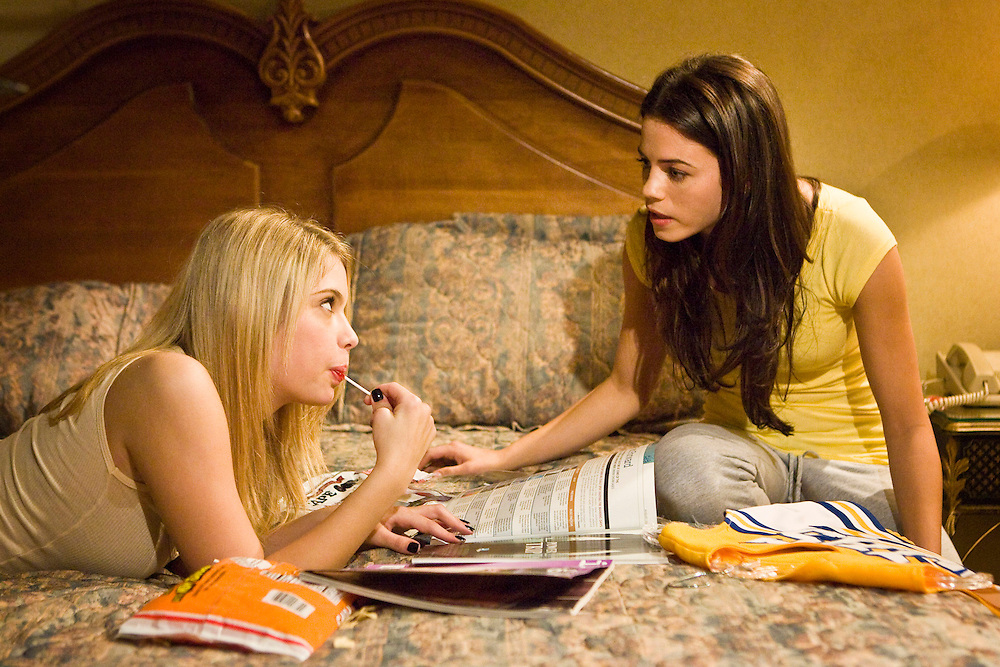 Ashley Benson as Brooke Tippit and Jenna Dewan as Emma Carr in the Lifetime Original Movie 'Fab Five: The Texas Cheerleader Scandal.'