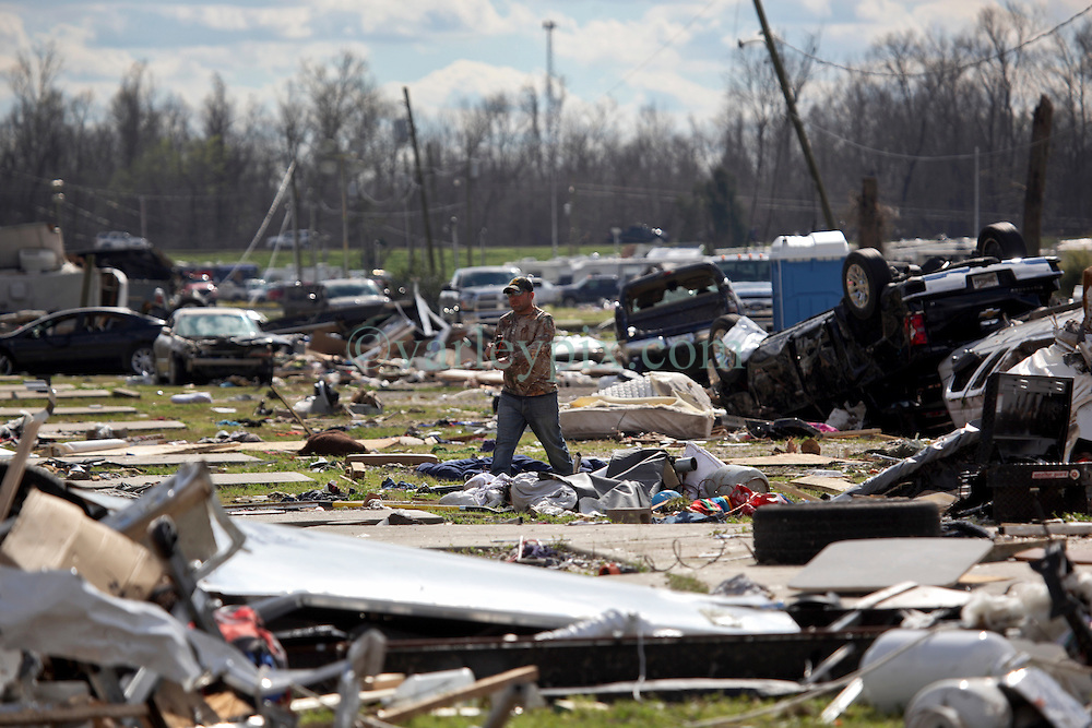 24 February 2016. Sugar Hill RV Park, Convent, Louisiana.<br /> Scenes of devastation following a deadly EF2 tornado touchdown. 2 confirmed dead. <br /> Families recover all they can from their destroyed trailers.<br /> Photo©; Charlie Varley/varleypix.com