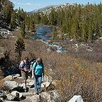 Hikers walk up a trail in Rock Creek Canyon, Sierra Nevada, California.
