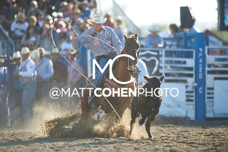 Tie-down roper Clint Robinson of Spanish Fork, UT competes at the Rancho Mission Viejo Rodeo in San Juan Capistrano, CA.<br /> <br /> <br /> UNEDITED LOW-RES PREVIEW<br /> <br /> <br /> File shown may be an unedited low resolution version used as a proof only. All prints are 100% guaranteed for quality. Sizes 8x10+ come with a version for personal social media. I am currently not selling downloads for commercial/brand use.