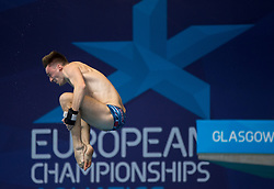 Great Britain's Matthew Lee competing in the Men's 10m Platform Final during day eleven of the 2018 European Championships at the Royal Commonwealth Pool, Edinburgh. PRESS ASSOCIATION Photo. Picture date: Sunday August 12, 2018. See PA story DIVING European. Photo credit should read: Ian Rutherford/PA Wire. RESTRICTIONS: Editorial use only, no commercial use without prior permission