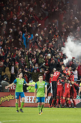 December 9, 2017 - Toronto, Ontario, Canada - Toronto FC celebrates the second goal of the match during the MLS Cup championship match at BMO Field in Toronto, Canada.  Toronto FC defeats Seattle Sounders 2 to 0. (Credit Image: © Mark Smith via ZUMA Wire)