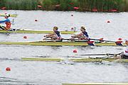 Eton Dorney, Windsor, Great Britain,..2012 London Olympic Regatta, Dorney Lake. Eton Rowing Centre, Berkshire[ Rowing]...Description; Women's Repechage. USA W2X,  Margot SHUMWAY and Sarah TROWBRIDGE, move awayf rom the start pontoon. Dorney Lake. 09:59:19  Tuesday  31/07/2012 [Mandatory Credit: Peter Spurrier/Intersport Images]  .