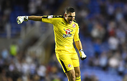 Reading goalkeeper Vito Mannone celebrates after team-mate Jon Dadi Bodvarsson scores his side's first goal of the game
